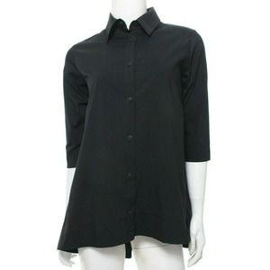 Luukaa US 6 Black Long Poplin Black Blouse Shirt